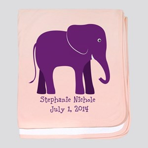 Elephant (purple) Baby Blanket